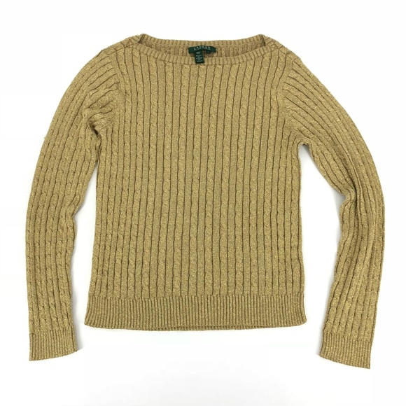 Lauren Ralph Lauren Sweaters - Lauren Ralph Lauren Gold Cable Knit Sweater 298265230